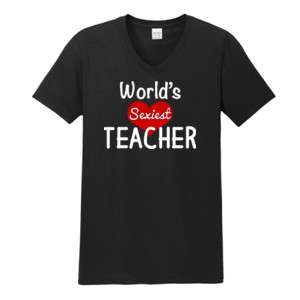 World's Sexiest Teacher - Gildan - Softstyle ® V Neck T Shirt - DTG