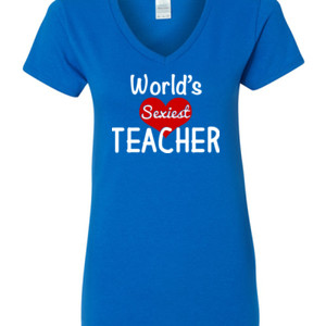 World's Sexiest Teacher - Gildan - 5V00L (DTG) - 100% Cotton V Neck T Shirt
