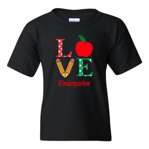 Love Kindergarten - Gildan - 5000B (DTG) - Youth 5.3oz 100% Cotton T Shirt