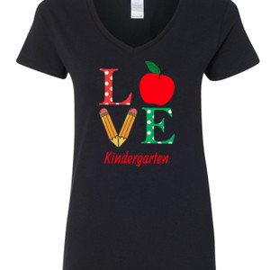 Love Kindergarten - Gildan - 5V00L (DTG) - 100% Cotton V Neck T Shirt