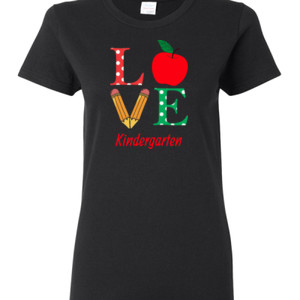 Love Kindergarten - Gildan - Ladies 100% Cotton T Shirt - DTG