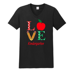 Love Kindergarten - Gildan - Softstyle ® V Neck T Shirt - DTG