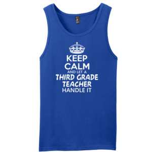 Keep Calm & Let A 3rd Grade Teacher Handle It - District - Young Mens The Concert Tank ® (DTG)
