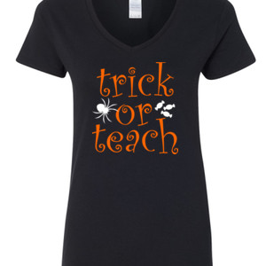Trick Or Teach - Gildan - 5V00L (DTG) - 100% Cotton V Neck T Shirt