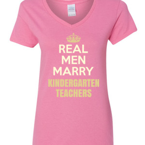 Real Men Marry ~ Customizable ~  - Gildan - 5V00L (DTG) - 100% Cotton V Neck T Shirt