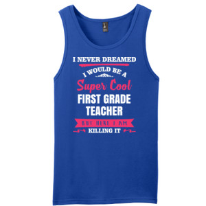 Super Cool First Grade Teacher - District - Young Mens The Concert Tank ® (DTG)